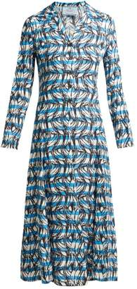 Prada Banana Print Striped Shirtdress - Womens - Blue Print