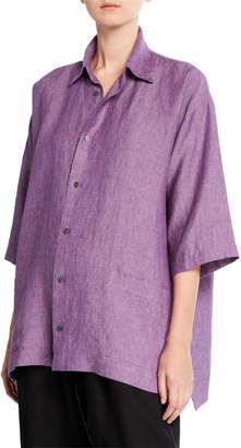 eskandar Melange Linen Button-Front Shirt