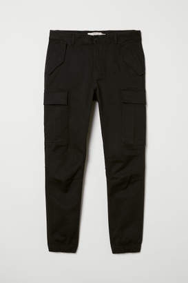 H&M Cotton Twill Cargo Joggers - Black