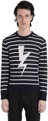Neil Barrett Bolts Striped Cotton Jacquard Sweater