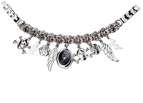 Betsey Johnson Silvertone Charm Bracelet Watch
