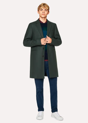 Paul Smith Men's Dark Green Wool-Cashmere Overcoat