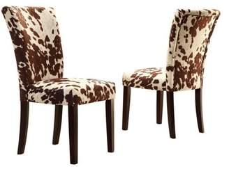 Homelegance Weston Home Royal Cow Hide Fabric Parson Chairs - Espresso - Set of 2