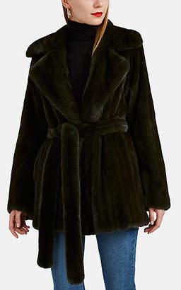 Barneys New York Women's Mink Fur Belted Coat - Dk. Green