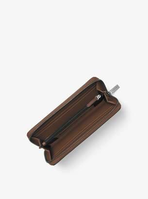 Michael Kors Harrison Crosshatch Leather Zip-Around Wallet