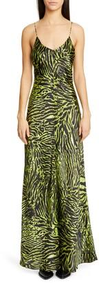 Ganni Tiger Print Silk Satin Gown