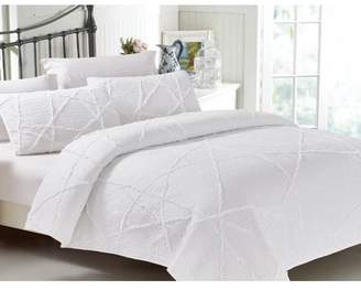 California Design Den Crazy Ruffled Cotton 3-Piece King Size White Quilt Set, Handcrafted Quilted Bedspreads, White