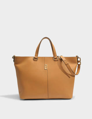 Lancel Lola Zip Tote Bag in Camel Grained Leather