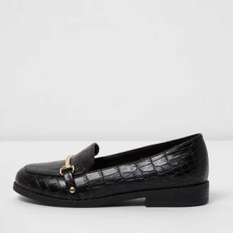 River Island Girls black croc embossed snaffle loafers
