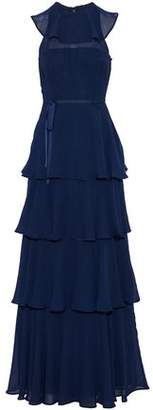 Mikael Aghal Tiered Ruffled Chiffon Gown