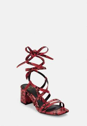 Missguided Red Snake Two Strap Lace Up Mid Heel Sandals