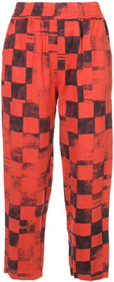 Raquel Allegra check print cropped trousers
