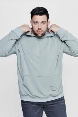 boohoo Big & Tall Over The Head Distressed Hoodie