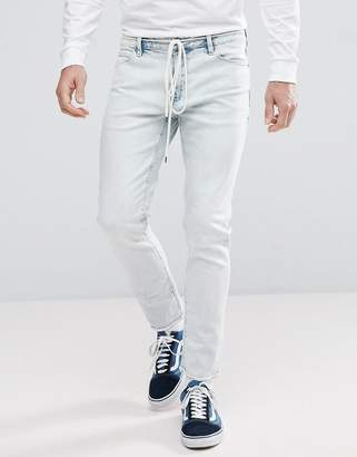 Asos Design Skinny Ankle Grazer Jeans In Bleach Wash With Lace Belt