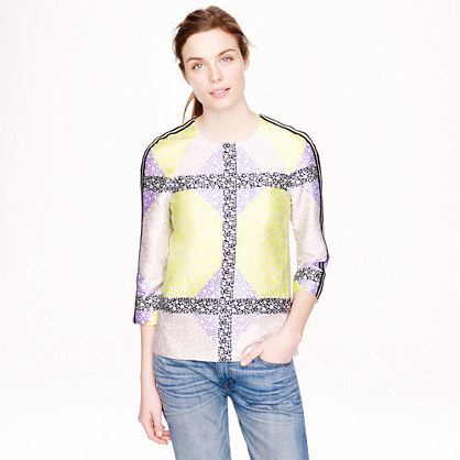J.Crew Collection windowpane floral seamed top