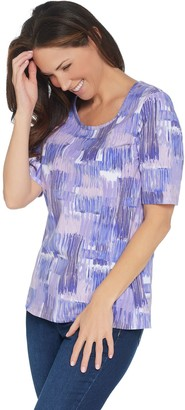 Denim & Co. Perfect Jersey Printed Elbow-Sleeve Scoop-Neck Top