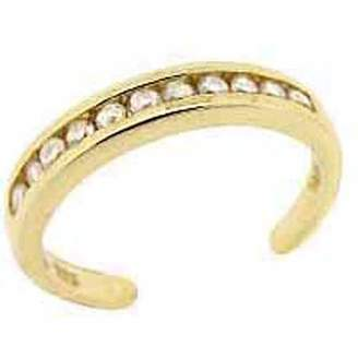 Top Seller CZ Channel-Set 18kt Gold over Sterling Silver Toe Ring