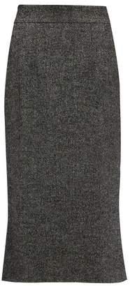 Dolce & Gabbana Fluted Wool Blend Tweed Skirt - Womens - Grey