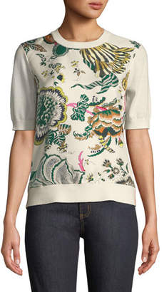 Tory Burch Silk-Print Merino Short-Sleeve Sweater