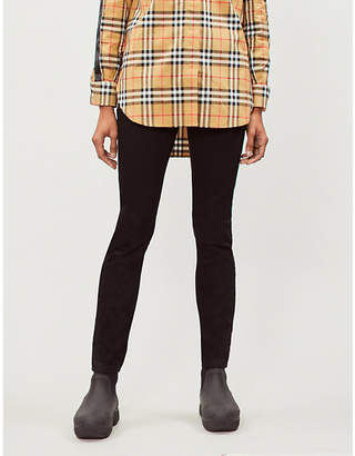 Burberry Women's Black Check Ruckley Skinny Mid-Rise Jeans