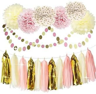 Bridal Shower Decorations Tissue Pom Pom Pink Cream Glitter Gold Tissue Paper Pom Pom Paper Tassel Garland Polka Dot Tissue Poms for Girl Baby Shower Decorations Pink Gold Party Decor First Birthday