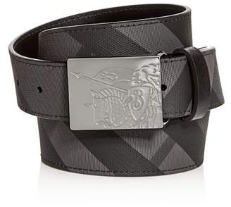 Burberry Plaque Buckle Check Leather Belt