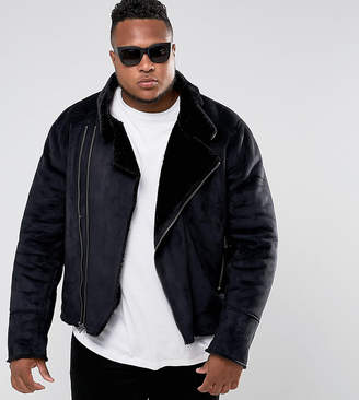 Barney's Originals PLUS Faux Shearling Biker Jacket