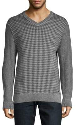 HUGO BOSS Kwed Check & Rib-Knit Sweater