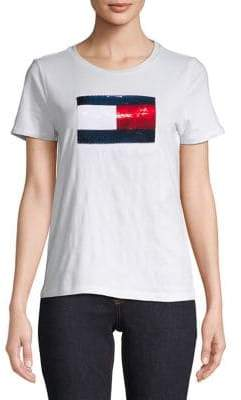 Tommy Hilfiger Short Sleeve Sequin Flag Tee
