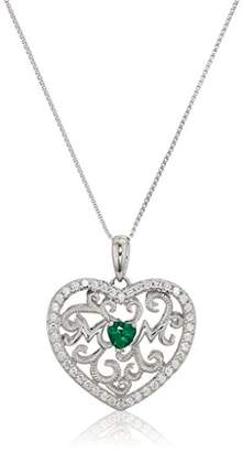 Swarovski Women's Rhodium Plated Sterling Silver Synthetic Emerald Heart Shape Zirconia Antique Pendant Necklace