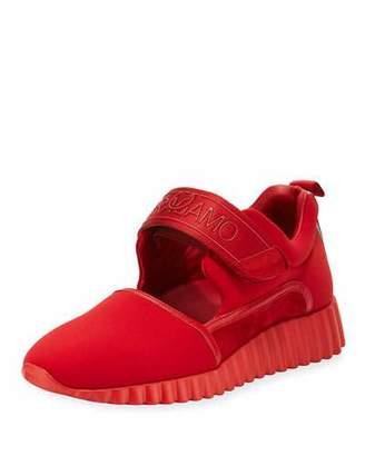 Salvatore Ferragamo Avigna Grip-Strap Platform Sneakers, Lipstick Red