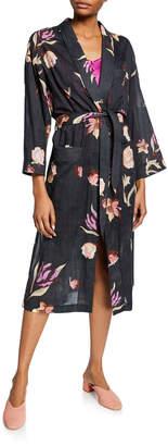 Kimo Floral-Print Cotton Robe Dress