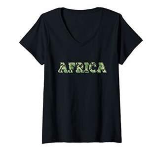 Womens Africa Snake Print Zoo Animal African Safari Gift V-Neck T-Shirt
