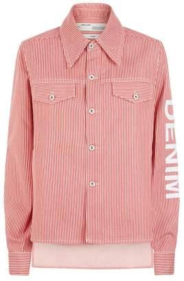 Off-White Striped Crop Denim Jacket