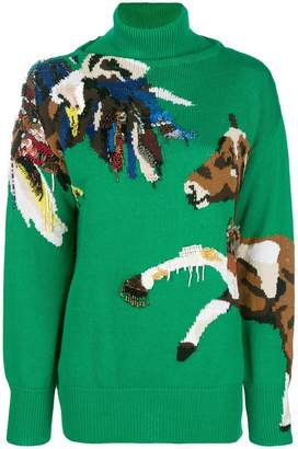 Krizia horse embroidered sweater