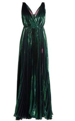 Maria Lucia Hohan Reva Deep V Neck Pleated Lame Gown - Womens - Dark Green