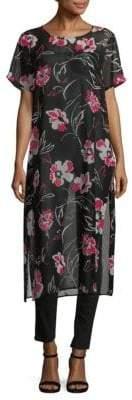 Calvin Klein Floral Side-Slit Tunic Dress
