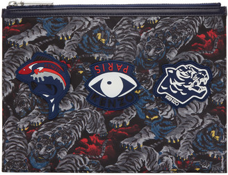 Kenzo Black Multi Icons Pouch $165 thestylecure.com