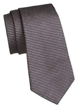 Giorgio Armani Anthracite Horizonal Stripe Silk Tie