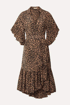 Michael Kors Wrap-effect Leopard-print Silk Crepe De Chine Dress - Leopard print