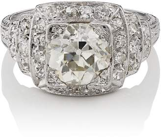 Stephanie Windsor Antiques Women's White-Diamond Art Deco Ring