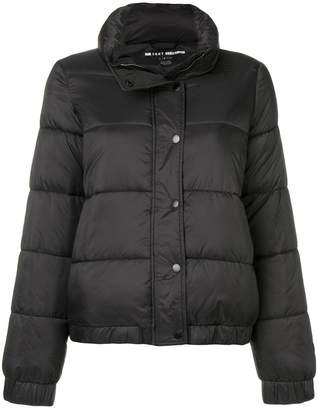 Donna Karan logo patch puffer jacket