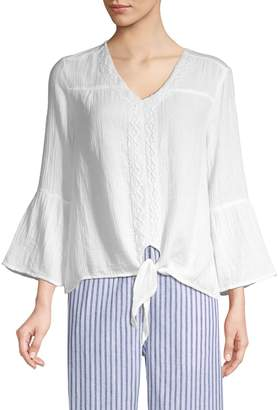 BeachLunchLounge Beach Lunch Lounge Lace-Trimmed Cotton Blouse