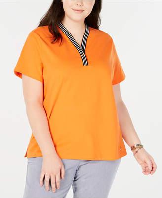 Tommy Hilfiger Plus Size Pique Henley T-Shirt