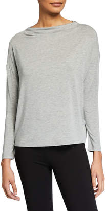 Vince Long-Sleeve Mock Boat-Neck Pullover Top