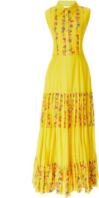 Carolina K. Nia Pleated Floral Cotton-Blend Maxi Dress