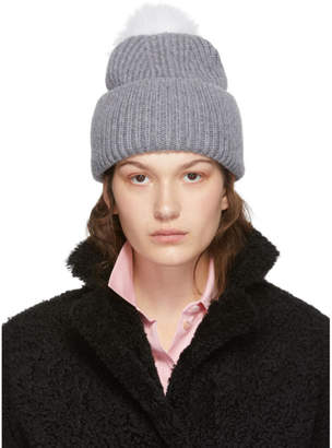 Yves Salomon Grey Bonnet Pompom Beanie