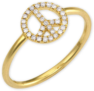Sydney Evan 14k Gold Diamond Peace Sign Ring, size 6.5
