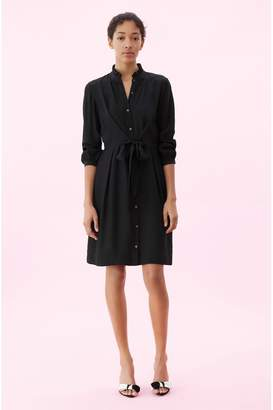 Rebecca Taylor Hammered Silk Tie Front Dress
