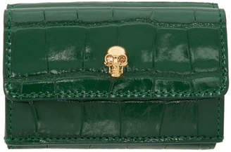 Alexander McQueen Green Croc Mini New Skull Wallet